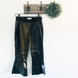 Bailey 44 Faux Leather Brown Crop Flare Pants M